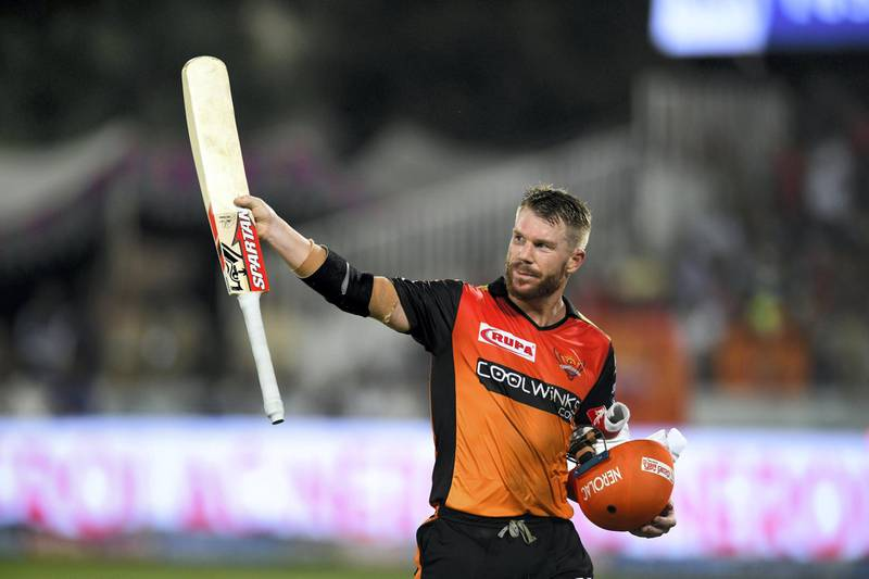 Sunrisers Hyderabad cricketer David Warner gestures as he walks back to the pavilion during the 2019 Indian Premier League (IPL) Twenty20 cricket match between Sunrisers Hyderabad and Kings XI Punjab at the Rajiv Gandhi International Cricket Stadium in Hyderabad on April 29, 2019. (Photo by NOAH SEELAM / AFP) / ----IMAGE RESTRICTED TO EDITORIAL USE - STRICTLY NO COMMERCIAL USE-----