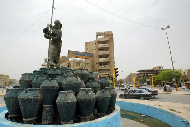 A general view of Kahramana Square in central Baghdad on April 5, 2008. It took US tank crews just three weeks to charge through the Iraqi desert into the heart of Baghdad and topple Saddam Hussein on April 9, 2003. But pulling out of the Iraqi capital is posing far more of a challenge for the world's most powerful army. AFP PHOTO / SABAH ARAR (Photo by SABAH ARAR / AFP)