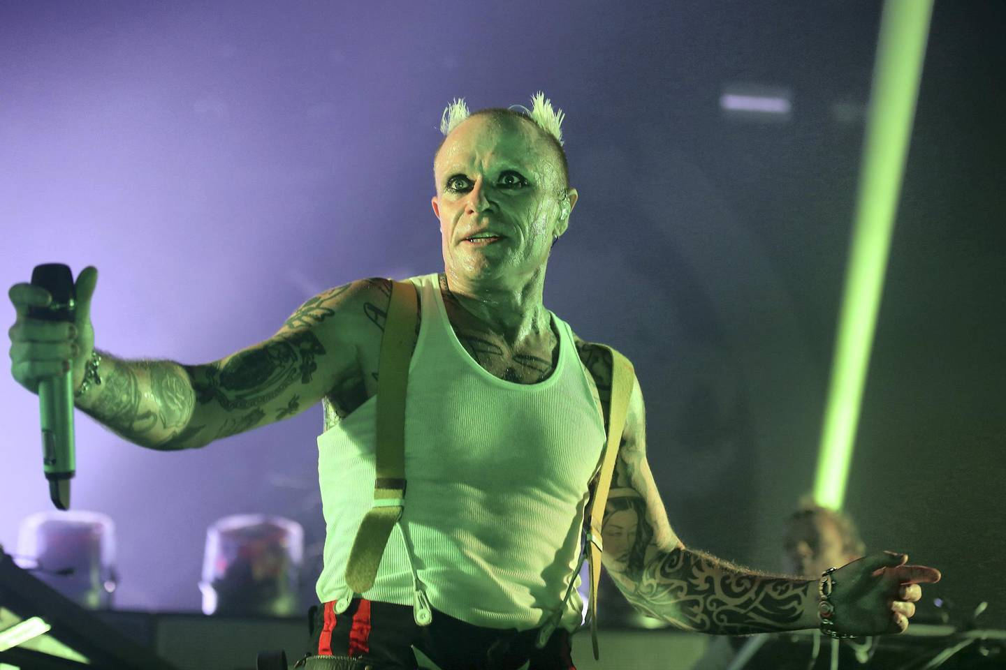 LONDON, ENGLAND - DECEMBER 21:  (EDITORIAL USE ONLY)  Keith Flint of The Prodigy perform live on stage at O2 Academy Brixton on December 21, 2017 in London, England.  (Photo by Simone Joyner/Getty Images)