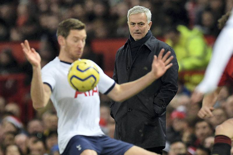 Tottenham Hotspur's Portuguese head coach Jose Mourinho (R) watches from the touchline during the English Premier League football match between Manchester United and Tottenham Hotspur at Old Trafford in Manchester, north west England, on December 4, 2019. (Photo by Oli SCARFF / AFP) / RESTRICTED TO EDITORIAL USE. No use with unauthorized audio, video, data, fixture lists, club/league logos or 'live' services. Online in-match use limited to 120 images. An additional 40 images may be used in extra time. No video emulation. Social media in-match use limited to 120 images. An additional 40 images may be used in extra time. No use in betting publications, games or single club/league/player publications. /