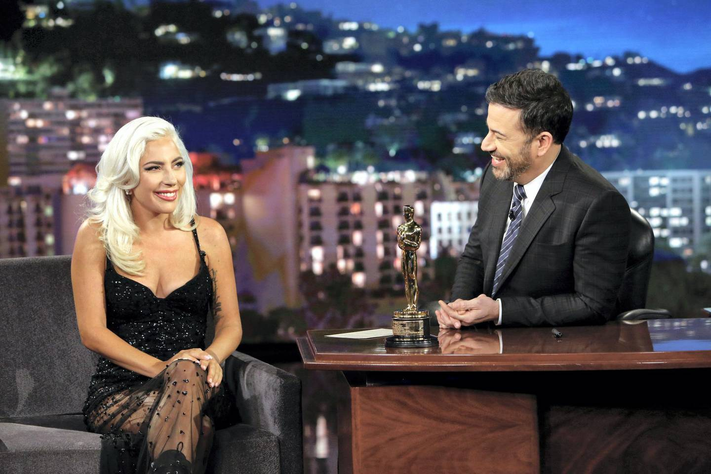 """JIMMY KIMMEL LIVE! - """"Jimmy Kimmel Live!"""" airs every weeknight at 11:35 p.m. EST and features a diverse lineup of guests that include celebrities, athletes, musical acts, comedians and human interest subjects, along with comedy bits and a house band. The guests for Wednesday, February 27, included Lady Gaga (Academy Award Winner), Adam Carolla (""""Not Taco Bell Material""""), and musical guest Maná. (Randy Holmes via Getty Images) LADY GAGA, JIMMY KIMMEL"""