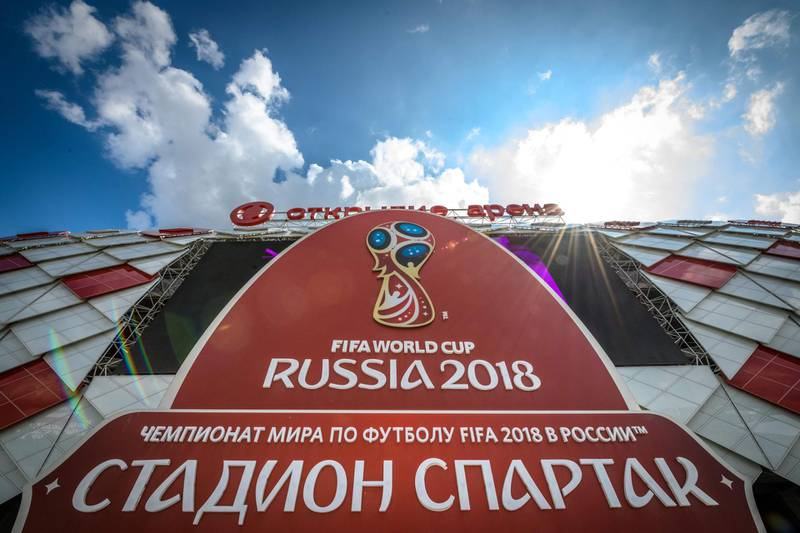 A view of the Spartak Stadium in Moscow on May 23, 2018. The 45,000-seater stadium will host four group matches and a round of 16 game of the 2018 FIFA World Cup. / AFP / Mladen ANTONOV