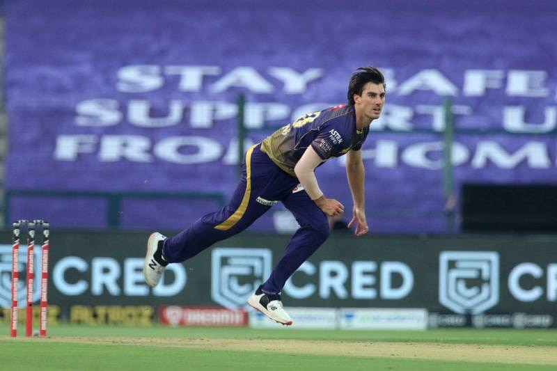 Pat Cummins of Kolkata Knight Riders bowls during match 8 of season 13 of the Dream 11 Indian Premier League (IPL) between the Kolkata Knight Riders and the Sunrisers Hyderabad held at the Sheikh Zayed Stadium, Abu Dhabi in the United Arab Emirates on the 26th September 2020.  Photo by: Vipin Pawar  / Sportzpics for BCCI