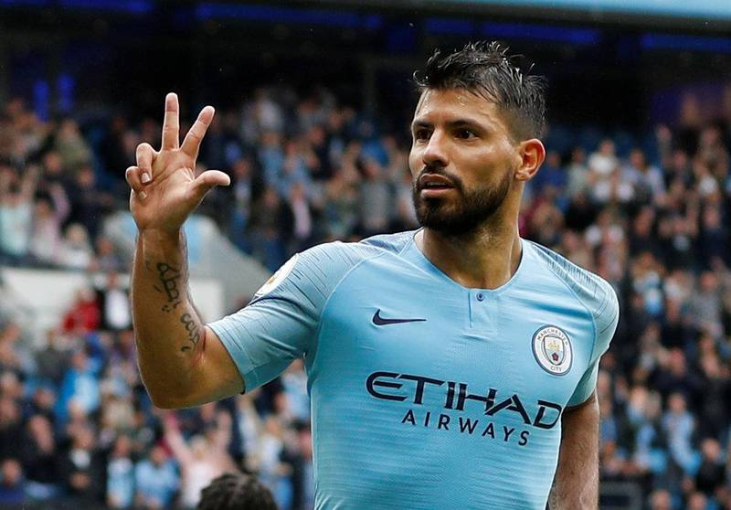 """Soccer Football - Premier League - Manchester City v Huddersfield Town - Etihad Stadium, Manchester, Britain - August 19, 2018  Manchester City's Sergio Aguero celebrates scoring their fifth goal to complete his hat-trick                REUTERS/Darren Staples  EDITORIAL USE ONLY. No use with unauthorized audio, video, data, fixture lists, club/league logos or """"live"""" services. Online in-match use limited to 75 images, no video emulation. No use in betting, games or single club/league/player publications.  Please contact your account representative for further details."""