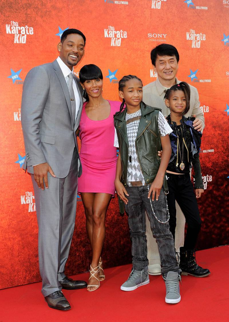"""MADRID, SPAIN - JULY 21:  (L-R) Will Smith, Jada Pinkett Smith, Jaden Smith, Jackie Chan and Willow Smith (R) attend """"The Karate Kid"""" premiere at Callao cinema on July 21, 2010 in Madrid, Spain.  (Photo by Carlos Alvarez/Getty Images)"""