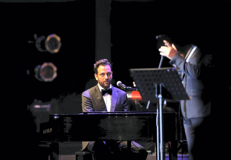 Lebanese-Armenian musician, composer and pianist Guy Manoukian performs during the Beiteddine International Art Festival on July 29, 2016, in tribute to late Lebanese composer, singer and songwriter Zaki Nassif who has led the Lebanese music scene over five decades. (Photo by JOSEPH EID / AFP)