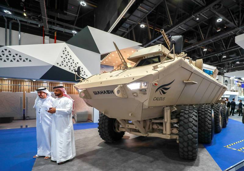 Abu Dhabi, United Arab Emirates, 2/19/19, International Defence Exhibition & Conference 2019 (IDEX) day 3. -- Calidus Wahash APC.Victor Besa / The National.Section:  NAReporter: