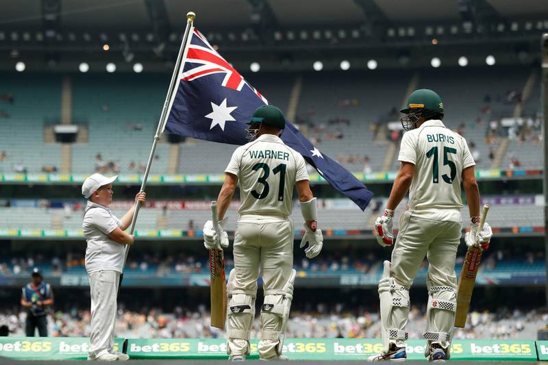 MELBOURNE, AUSTRALIA - DECEMBER 28: David Warner and Joe Burns of Australia walk out to bat in the second innings during day three of the Second Test match in the series between Australia and New Zealand at Melbourne Cricket Ground on December 28, 2019 in Melbourne, Australia. (Photo by Darrian Traynor/Getty Images)
