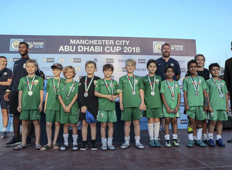 Abu Dhabi, March 24, 2018.  Manchester City Abu Dhabi Cup for juniors. Runner up team, U-10 : ESG Oman.Victor Besa / The NationalSportsReporter:  Amith Passela