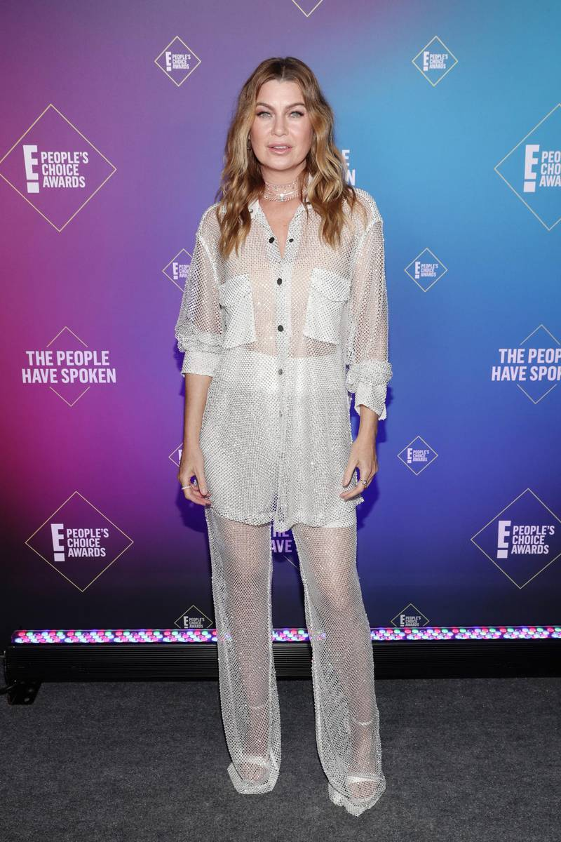 SANTA MONICA, CALIFORNIA - NOVEMBER 15: 2020 E! PEOPLE'S CHOICE AWARDS -- In this image released on November 15, Ellen Pompeo, The Female TV Star of 2020, attends the 2020 E! People's Choice Awards held at the Barker Hangar in Santa Monica, California and on broadcast on Sunday, November 15, 2020. (Photo by Todd Williamson/E! Entertainment/NBCU Photo Bank via Getty Images)