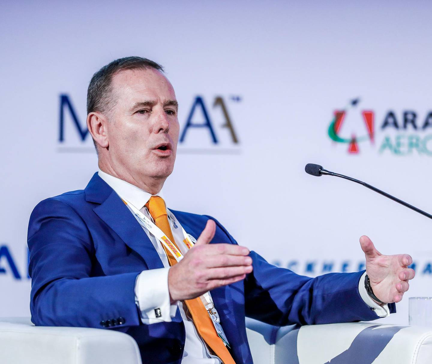 Abu Dhabi, St. Regis Hotel, April 30, 2018.  Global Aerospace Summit.  Tony Douglas, Group CEO, Etihad Aviation Group answers some questions given by the moderator,  Ivan Gale, Associate Director, Government and IndustryEngagement, Boeing International.Victor Besa / The NationalBusinessReporter:  Deena Kamel Yousef