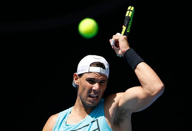 Tennis - Australian Open - Melbourne, Australia, January 14, 2018. Rafael Nadal of Spain hits the ball during a practice session before the Australian Open tennis tournament. REUTERS/Toru Hanai