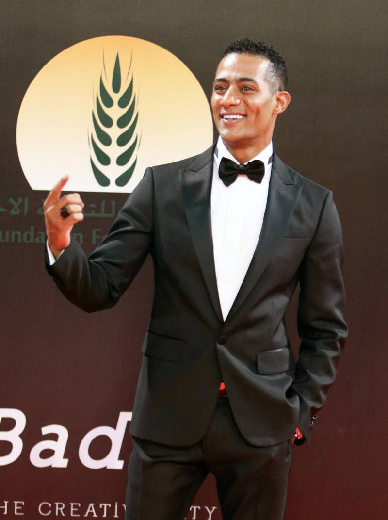 epa07180476 Egyptian Actor Mohamed Ramadan attends the opening ceremony of the 40th Cairo International Film Festival (CIFF), in Cairo, Egypt, 20 November 2018. The CIFF runs from 20 to 29 November.  EPA-EFE/MAHMOUD AHMED *** Local Caption *** 54790153