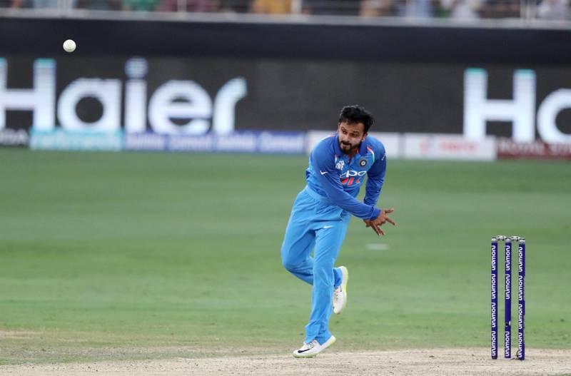 DUBAI , UNITED ARAB EMIRATES, September 19 , 2018 :- Kedar Jadhav of India bowling during the Asia Cup UAE 2018 cricket match between Pakistan vs India held at Dubai International Cricket Stadium in Dubai. ( Pawan Singh / The National )  For Sports. Story by Paul