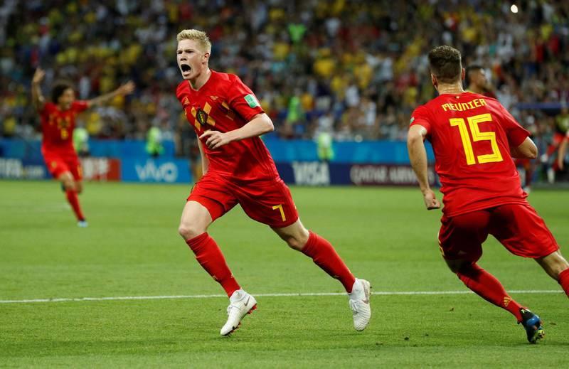 Soccer Football - World Cup - Quarter Final - Brazil vs Belgium - Kazan Arena, Kazan, Russia - July 6, 2018  Belgium's Kevin De Bruyne scelebrates scoring their second goal    REUTERS/John Sibley