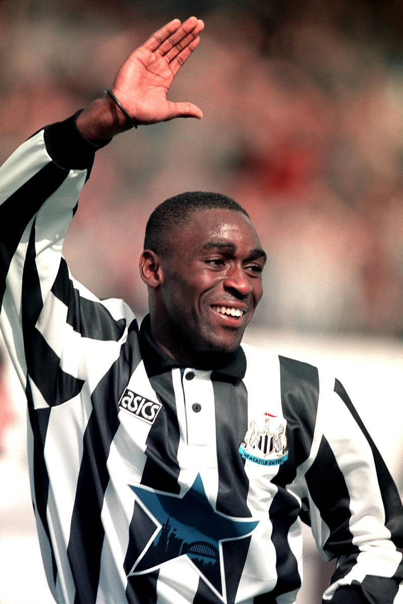ANDY COLE, NEWCASTLE UNITED celebrates scoring a hat-trick. NEWCASTLE UNITED v LEICESTER CITY  (Photo by Neal Simpson/EMPICS via Getty Images)