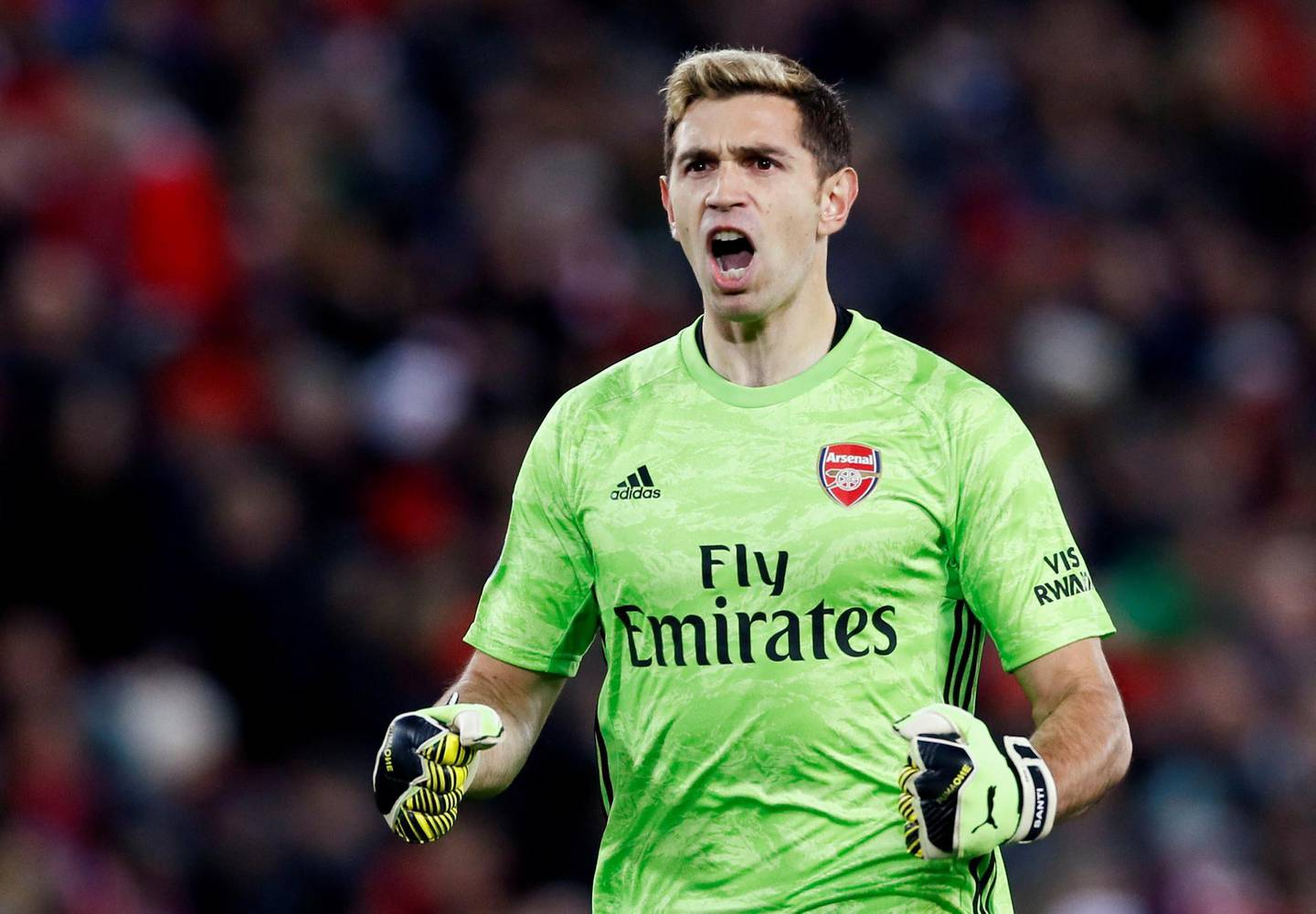 """Soccer Football - Carabao Cup - Fourth Round - Liverpool v Arsenal - Anfield, Liverpool, Britain - October 30, 2019  Arsenal's Emiliano Martinez celebrates their third goal   Action Images via Reuters/Jason Cairnduff  EDITORIAL USE ONLY. No use with unauthorized audio, video, data, fixture lists, club/league logos or """"live"""" services. Online in-match use limited to 75 images, no video emulation. No use in betting, games or single club/league/player publications.  Please contact your account representative for further details."""