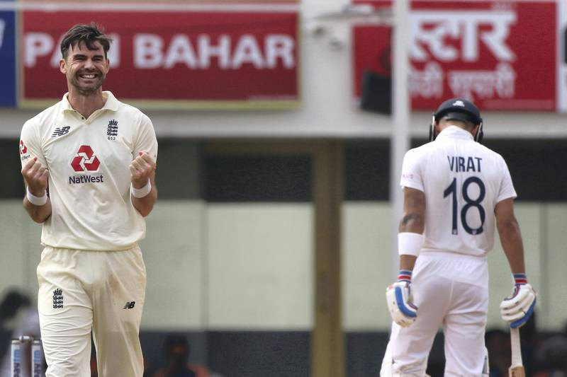 James Anderson of England celebrates the wicket of Rishabh Pant of (WK) India during day five of the first test match between India and England held at the Chidambaram Stadium in Chennai, Tamil Nadu, India on the 9th February 2021  Photo by Pankaj Nangia/ Sportzpics for BCCI