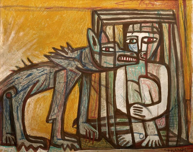 SR012_LR_Samir Rafi, Untitled, 1974, Oil on board,80x90cm, Image courtesy of Ubuntu Art Gallery