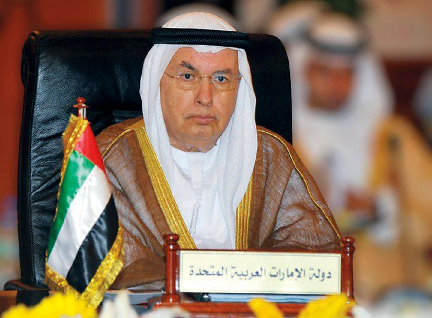 This undated photo released by Emirates News Agency, WAM, shows Ibrahim al-Abed, the founder of the state-run news agency.  Ibrahim al-Abed, a pioneering media figure as the oil-rich nation grew into a regional power, has died. He was 78.  (WAM via AP)