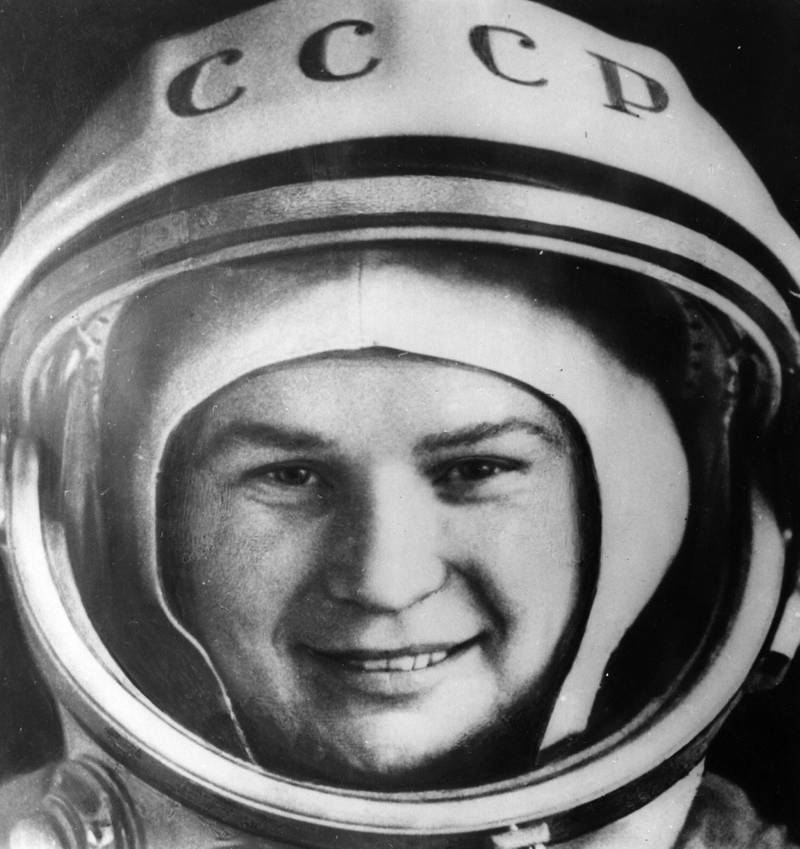 Valentina Tereshkova, who became the first woman in space, photographed in her space suit shortly before take off.   (Photo by Central Press/Getty Images)