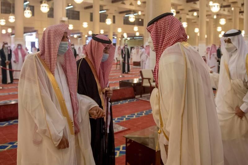 Saudi's Crown Prince Mohammed bin Salman performs Eid al-Fitr prayers in Riyadh. SPA