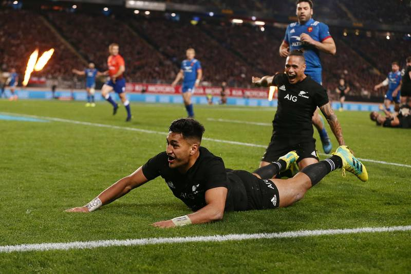 AUCKLAND, NEW ZEALAND - JUNE 09:  Rieko Ioane of the All Blacks scores a try during the International Test match between the New Zealand All Blacks and France at Eden Park on June 9, 2018 in Auckland, New Zealand.  (Photo by Anthony Au-Yeung/Getty Images)