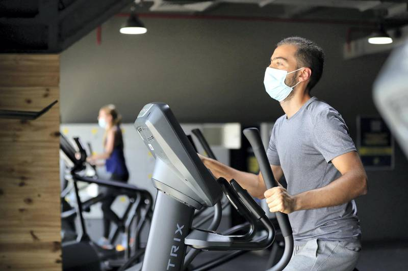 Dubai, United Arab Emirates - Reporter: Kelly Clark: News. Marwan on the cross trainer at GymNation in Al Quoz as gyms across Dubai start to open. Wednesday, May 27th, 2020. Dubai. Chris Whiteoak / The National
