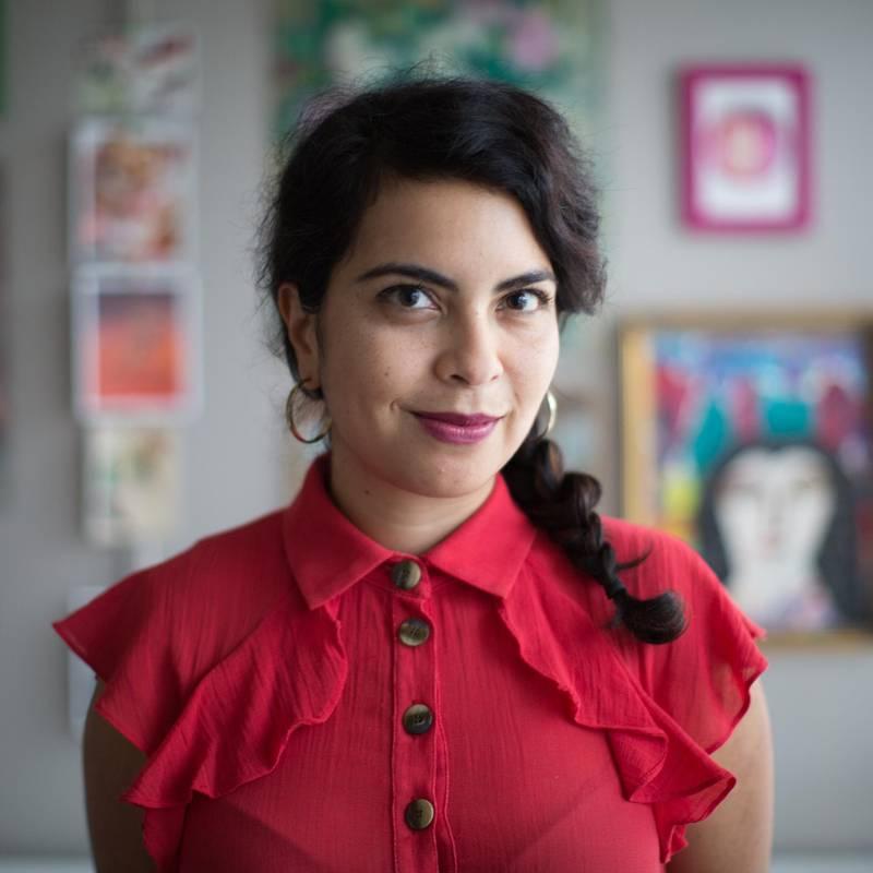 "Malaka Gharib portrait for book jacket of ""I Was Their American Dream."" Photo by Ben de la Cruz. Malaka Gharib's home art studio, Washington, DC, Oct. 15, 2018"