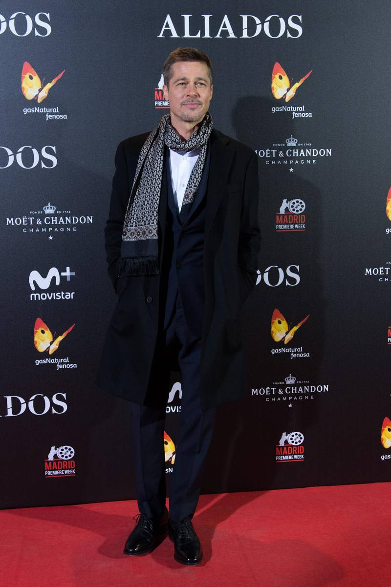 MADRID, SPAIN - NOVEMBER 22:  Brad Pitt attends the Madrid premiere of the Paramount Pictures title 'Allied' (Aliados) at Callao City Lights on November 22, 2016 in Madrid, Spain.  (Photo by Carlos Alvarez/Getty Images For Paramount Pictures)