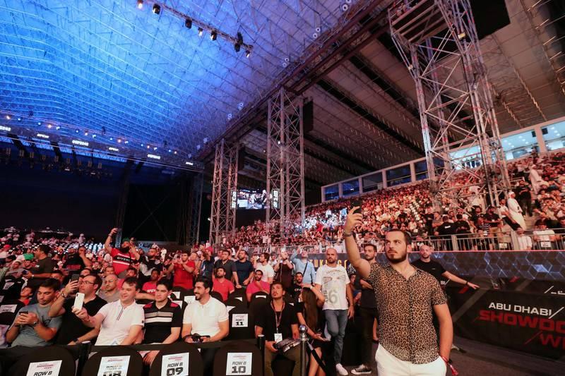 Abu Dhabi, United Arab Emirates - September 07, 2019: The Arena. Women's bantamweight bout between Sarah Moras (black shorts, winner) and Liana Jojua in the Prelims at UFC 242. Saturday the 7th of September 2019. Yas Island, Abu Dhabi. Chris Whiteoak / The National
