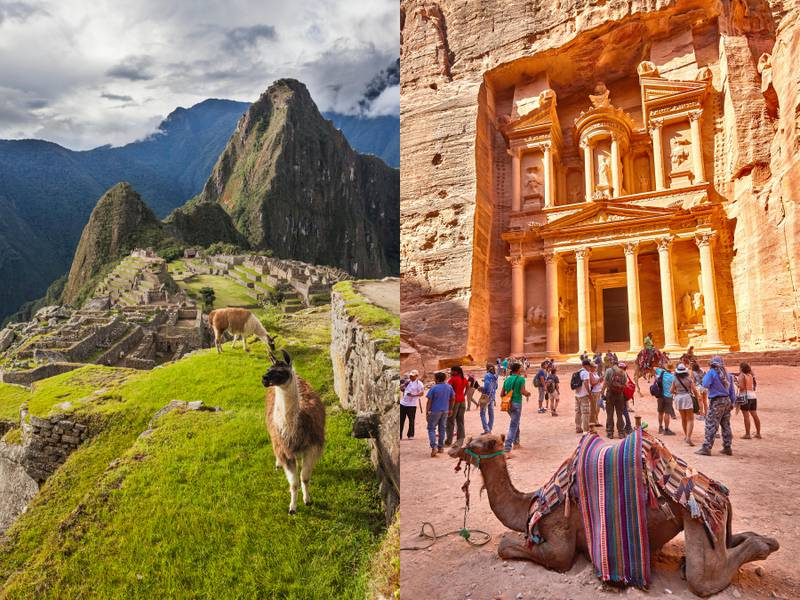 LEFT: Peak of Huaynapicchu (young mountain) at Machu Picchu, the ancient lost city of the Incas, one of Perus top tourist destinationsRIGHT: Camels and tourists at the Treasury of PetraGetty Images