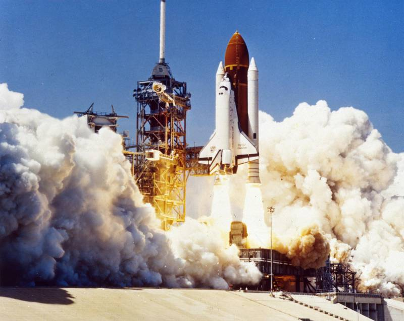 28th January 1986:  The space shuttle Challenger (STS-51L) takes off from the Kennedy Space Centre, Florida. 73 seconds later the shuttle exploded, killing its seven crew members.  (Photo by MPI/Getty Images)