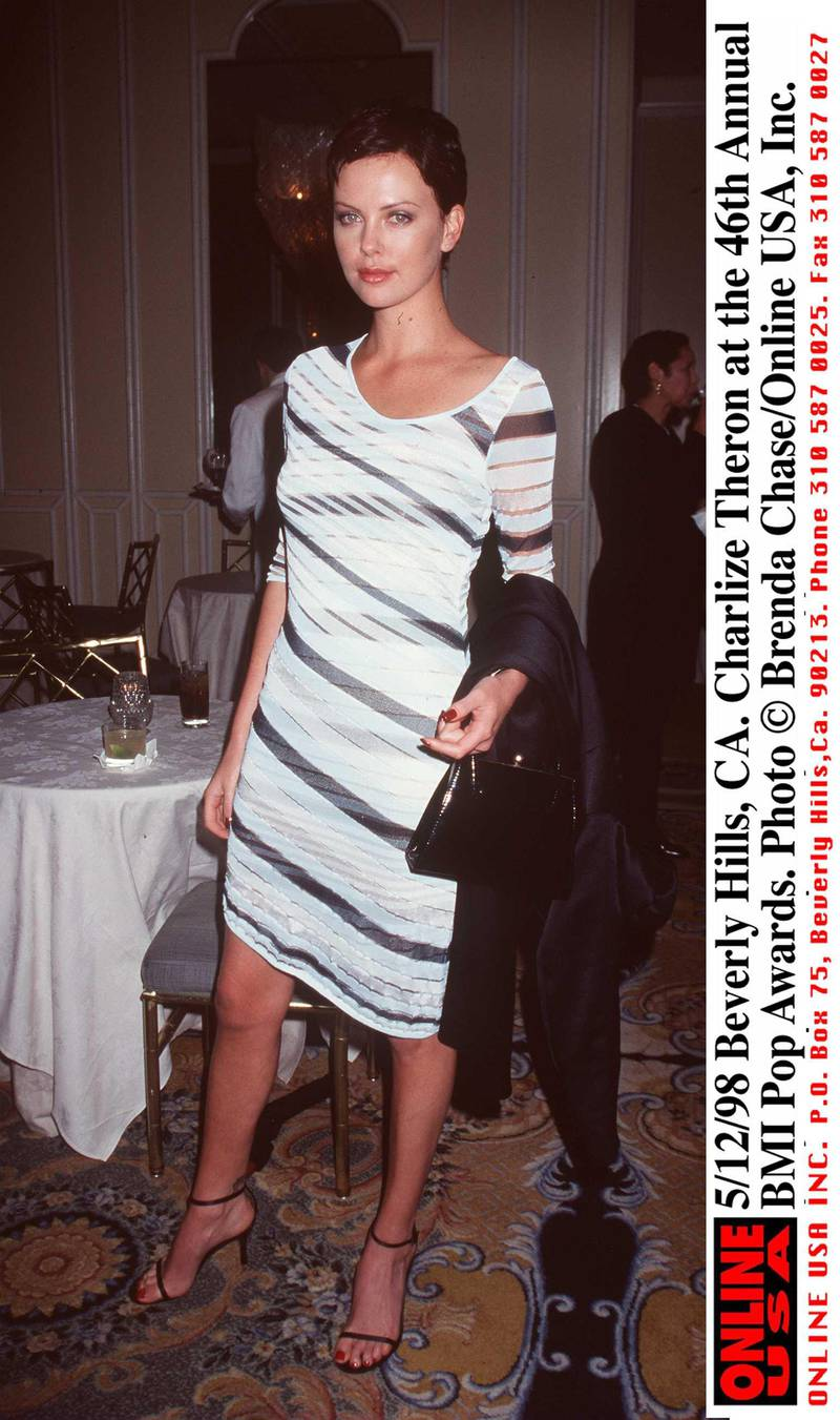 373640 01: 5/12/98 Beverly Hills, CA. Charlize Theron at the 46th Annual BMI Pop Awards.