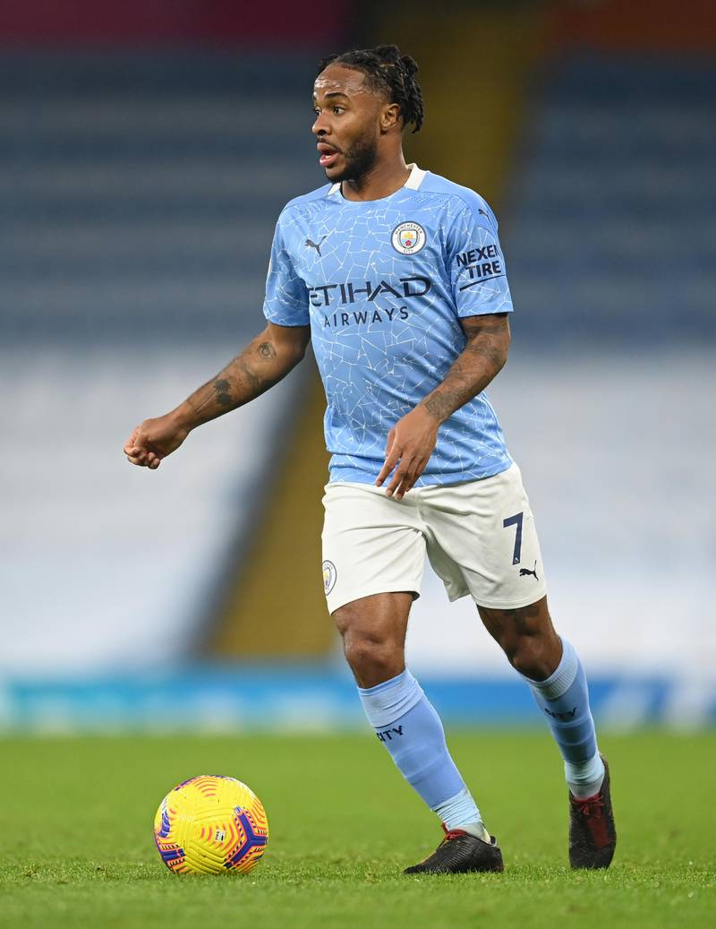 MANCHESTER, ENGLAND - DECEMBER 15: Raheem Sterling of Manchester City in action during the Premier League match between Manchester City and West Bromwich Albion at Etihad Stadium on December 15, 2020 in Manchester, England. The match will be played without fans, behind closed doors as a Covid-19 precaution.  (Photo by Michael Regan/Getty Images)