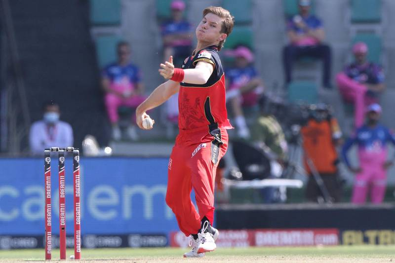 Adam Zampa of Royal Challengers Bangalore bowls during match 15 of season 13 of Indian Premier League (IPL) between the Royal Challengers Bangalore and the Rajasthan Royals at the Sheikh Zayed Stadium, Abu Dhabi  in the United Arab Emirates on the 3rd October 2020.  Photo by: Pankaj Nangia  / Sportzpics for BCCI