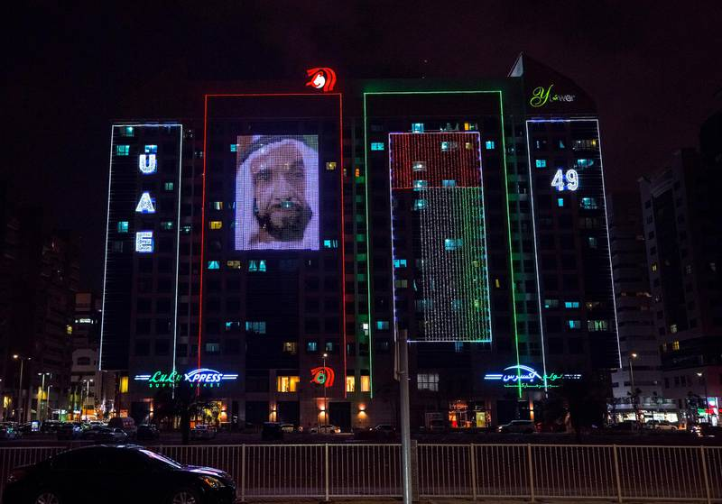 Abu Dhabi, United Arab Emirates, November 24, 2020.   The UAE National Day lights at the Y Tower, central Abu Dhabi.  Victor Besa/The NationalReporter:  Section:  NAFOR:  Standalone/Stock/Big Picture