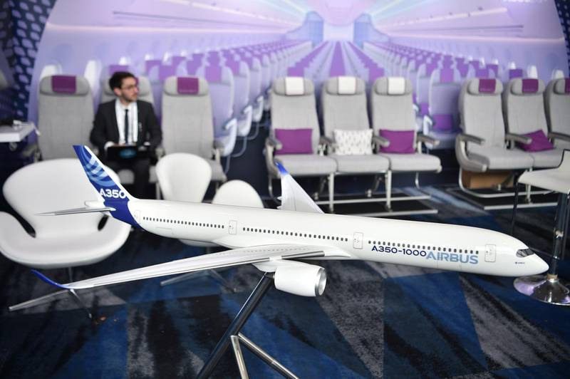 A scale model of an Airbus A350-1000 passenger aircraft is seen at the International Air Transport Association (IATA) annual meeting in Sydney on June 5, 2018. / AFP / PETER PARKS