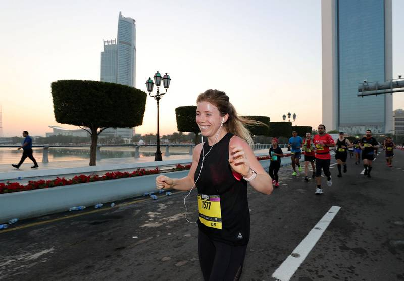 Abu Dhabi, United Arab Emirates - December 06, 2019: The National's Ashleigh Stewart takes part in the ADNOC Abu Dhabi marathon 2019. Friday, December 6th, 2019. Abu Dhabi. Chris Whiteoak / The National