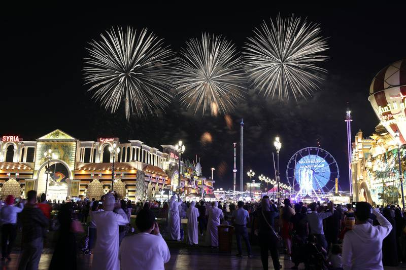 Global Village does the World record attempt of the highest fireworks. 20 skydivers landing in Global Village with fireworks on May 2nd, 2021. Chris Whiteoak / The National.  Reporter: Katy Gillett for Lifestyle
