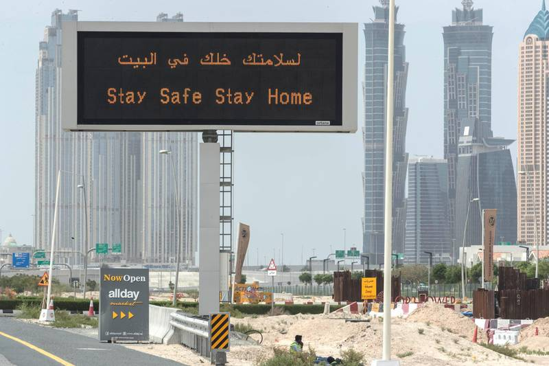 DUBAI, UNITED ARAB EMIRATES. 13 APRIL 2020. General STANDALONE image of Dubbai streets during the COVID-19 Lockdown of Dubai. A Stay Safe Stay Home display on Meydan road. (Photo: Antonie Robertson/The National) Journalist: Standalone. Section: National.