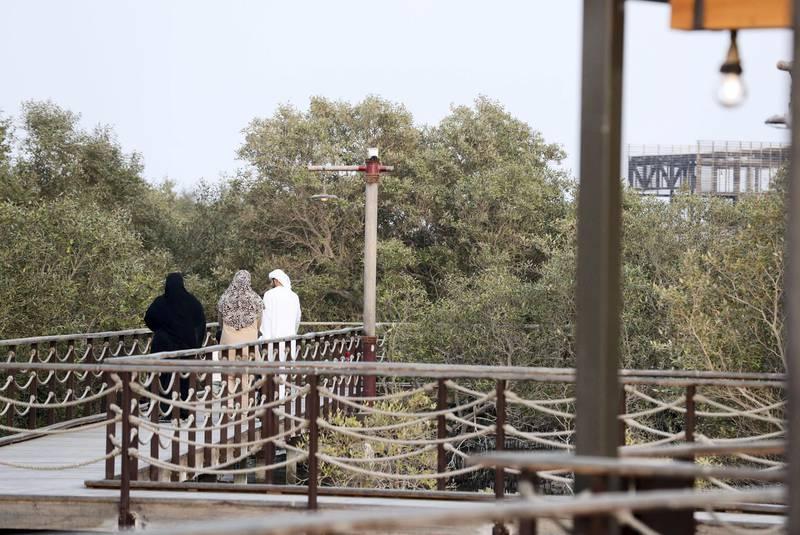 Jubail Mangrove Park-AD Residents come for an evening stroll at Jubail Mangrove Park on Jubail Island, June 20, 2021. Khushnum Bhandari/ The National Reporter: N/A News