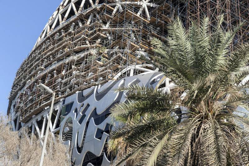 DUBAI, UNITED ARAB EMIRATES. 20 NOVEMBER 2018. The Museum of the Future on Sheikh Zayed rd next to the Emirates Towers. (Photo: Antonie Robertson/The National) Journalist: None. Section: Standalone.