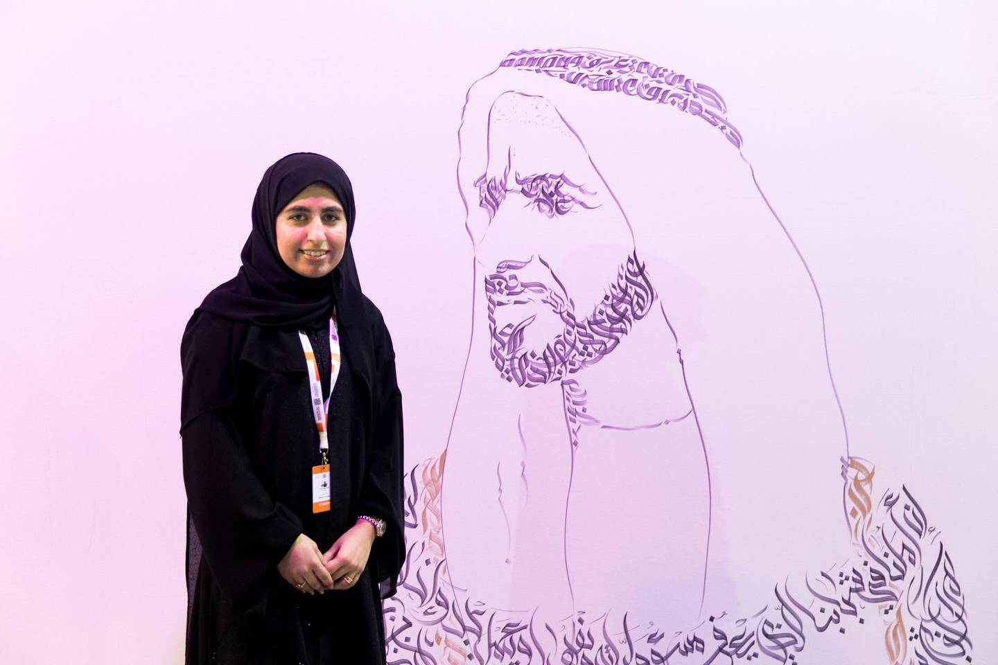ABU DHABI, UNITED ARAB EMIRATES - OCTOBER 08, 2018. Khawla Al Zarooni, 20, at Mohammed Bin Zayed Council for Future Generations sessions, held at ADNEC.(Photo by Reem Mohammed/The National)Reporter: SHIREENA AL NUWAIS + ANAM RIZVISection:  NA