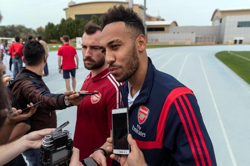 DUBAI, UNITED ARAB EMIRATES. 10 FEBRUARY 2020. Pierre-Emerick Aubameyang, professional football player for Arsenal. (Photo: Antonie Robertson/The National) Journalist: John McAuley. Section: Sport.