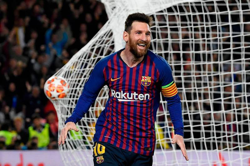TOPSHOT - Barcelona's Argentinian forward Lionel Messi celebrates after scoring a goal during the UEFA Champions League semi-final first leg football match between Barcelona and Liverpool at the Camp Nou Stadium in Barcelona on May 1, 2019. / AFP / LLUIS GENE