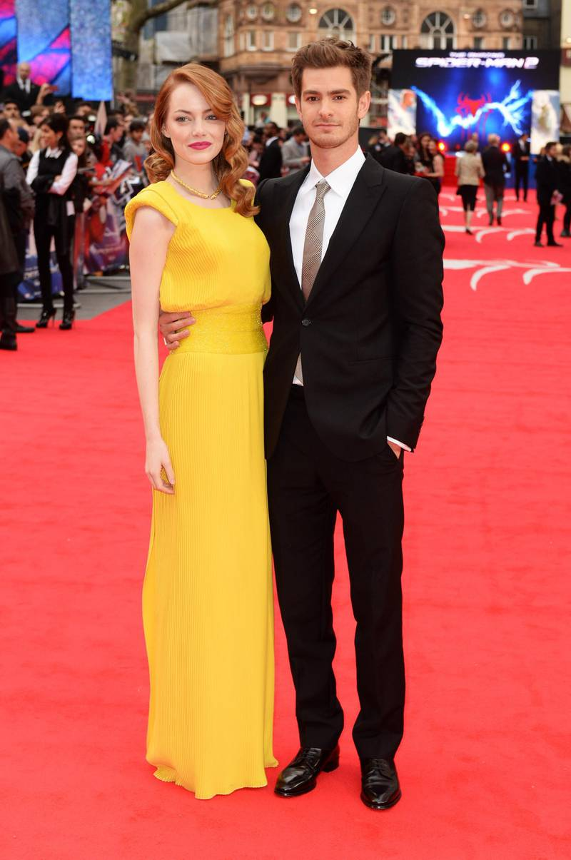 LONDON, ENGLAND - APRIL 10:  Emma Stone and Andrew Garfield attend the world premiere of 'The Amazing Spider-Man 2' at The Odeon Leicester Square on April 10, 2014 in London, England.  (Photo by Dave J Hogan/Getty Images)