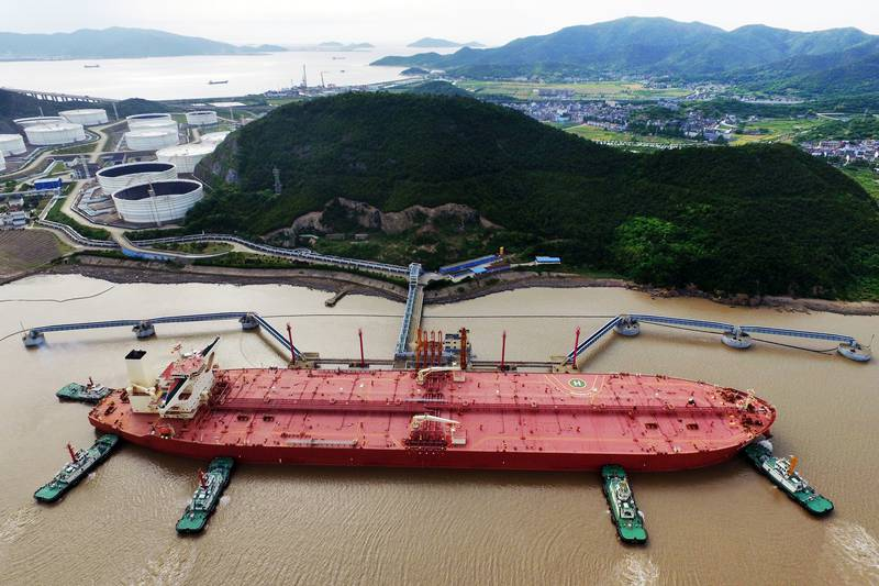 An oil tanker is seen at a crude oil terminal in Ningbo Zhoushan port, Zhejiang province, China May 16, 2017. Picture taken May 16, 2017. REUTERS/Stringer  ATTENTION EDITORS - THIS IMAGE WAS PROVIDED BY A THIRD PARTY. CHINA OUT.