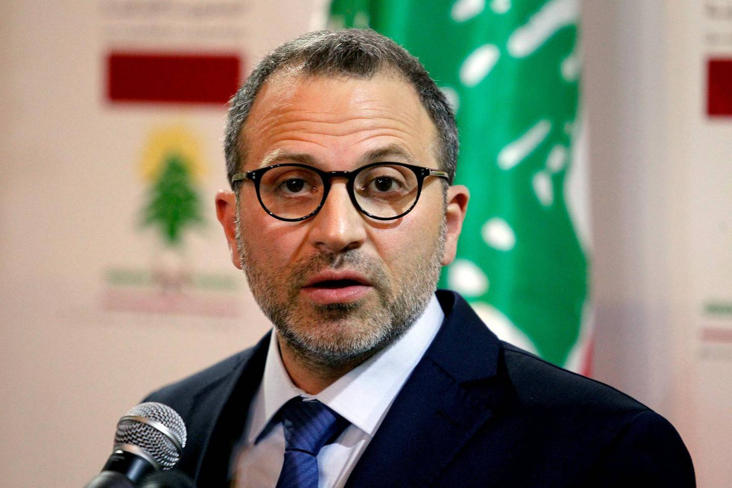 FILE PHOTO: Lebanon's Foreign Minister Gebran Bassil gestures as he speaks during a news conference in Beirut, Lebanon June 4, 2018. REUTERS/Mohamed Azakir/File Photo
