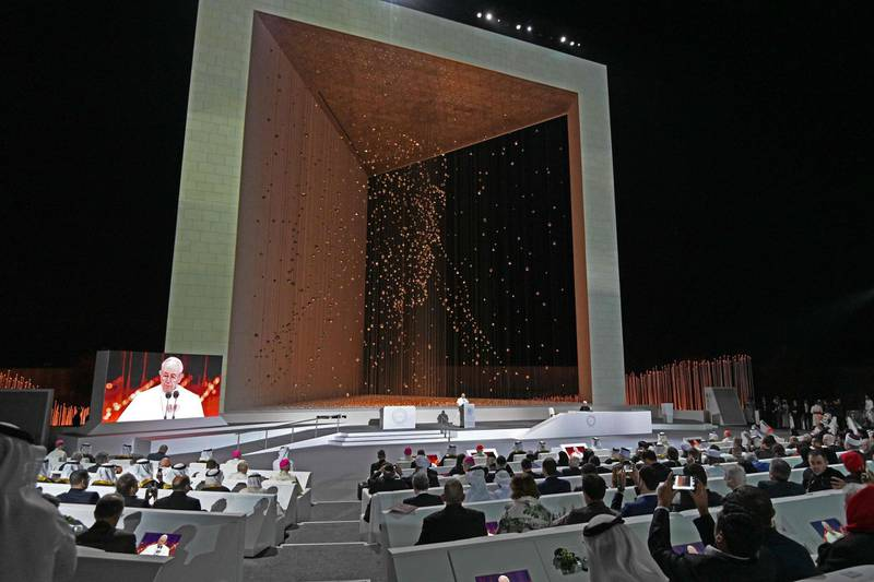 """Pope Francis delivers a speech during the Founders Memorial event in Abu Dhabi on February 4, 2019. Pope Francis rejected """"hatred and violence"""" in the name of God, on the first visit by the head of the Catholic church to the Muslim-majority Arabian Peninsula. / AFP / Vincenzo PINTO"""